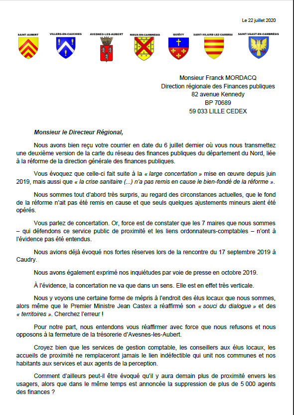 Capture lettre 7 maires mobiliss contre la fermeture de la perception